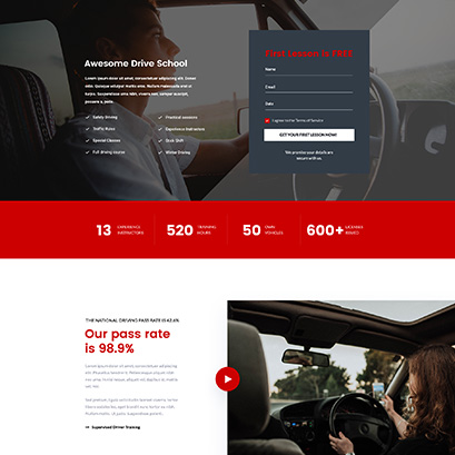 Driving school divi layout