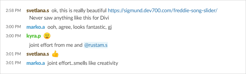 Screenshot of Divi Den Pro Slack Team chat showing the excitement generated by these Divi audio modules