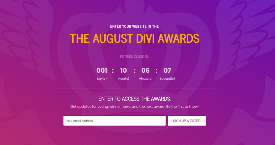 Entry Page Sample for The Divi Awards