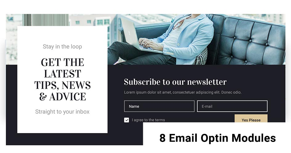 8 Divi Email Optin Modules to Build Your Email List + 2 Woocommerce Layouts and 13 Divi Modules