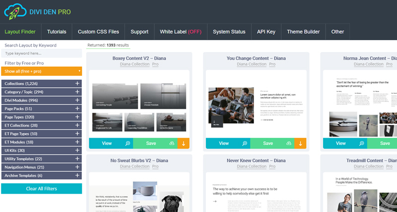 View of the divi den pro layout finder library