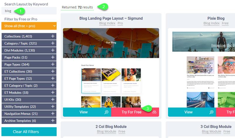Layout Finder - Divi blog post templates divi den pro layout library