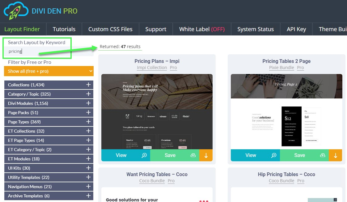 How to find 47+ Divi pricing table modules and pages in the layout finder