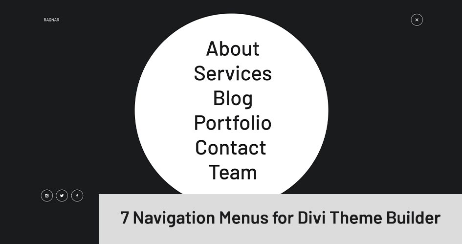 7 Navigation Menus for Divi Theme Builder | Ragnar by Divi Den Pro