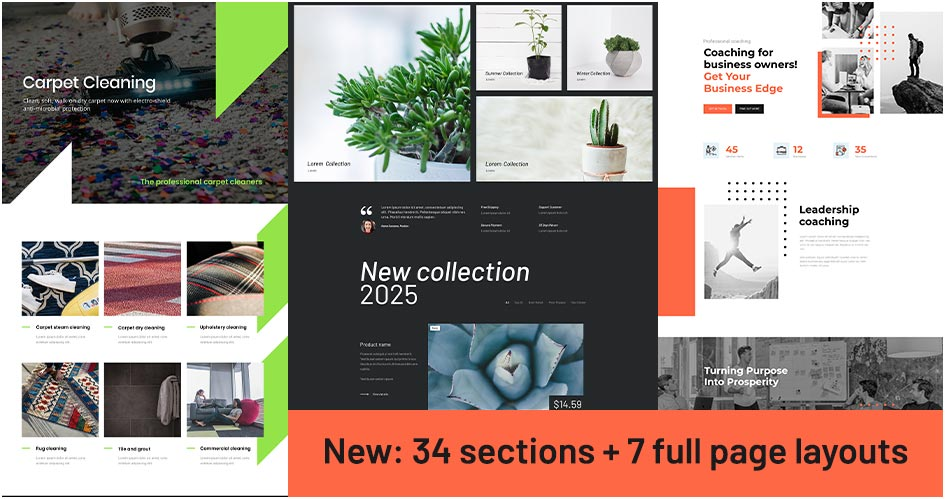 34 new Divi sections, 7 full page layouts - Divi Den Pro