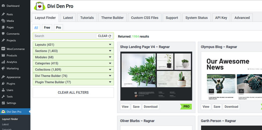 View of the Divi Den Pro layout finder in the WordPress plugin dashboard